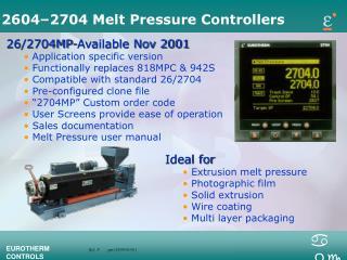 2604–2704 Melt Pressure Controllers