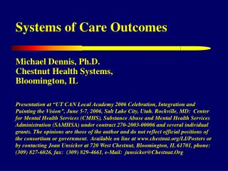 Systems of Care Outcomes