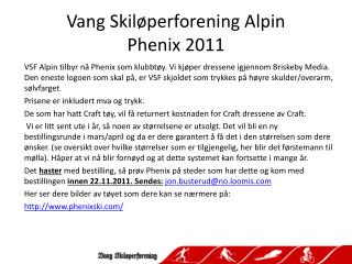 Vang Skil perforening Alpin Phenix 2011