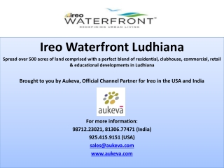 Ireo Waterfront Ludhiana, the Global Town in the Heart of Pu