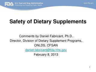 Safety of Dietary Supplements