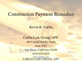 Construction Payment Remedies
