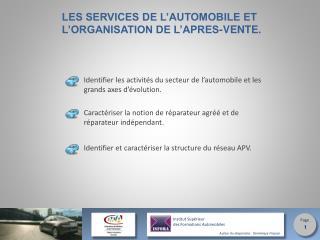 LES SERVICES DE L'AUTOMOBILE ET L'ORGANISATION DE L'APRES-VENTE.
