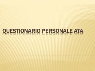 Questionario personale ATA