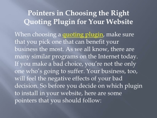 Pointers in Choosing the Right Quoting Plugin for Your Websi