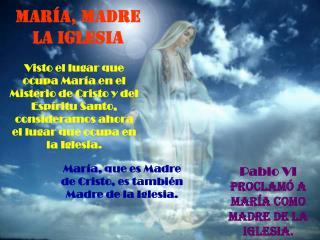 MARÍA, MADRE LA IGLESIA