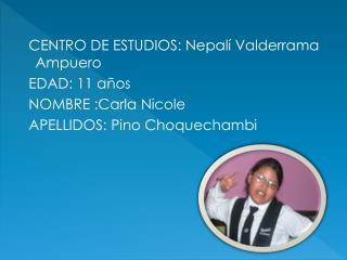 CENTRO DE ESTUDIOS: Nepalí Valderrama Ampuero   EDAD: 11 años   NOMBRE :Carla Nicole