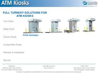 Turn Kiosk Glide Kiosk Classic Kiosk Custom/Mini Kiosk Delivery & Installation Service