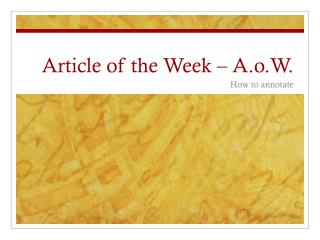 Article of the Week –  A.o.W .