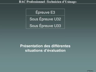 BAC Professionnel -Technicien d�Usinage-