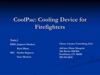 CoolPac: Cooling Device for Firefighters
