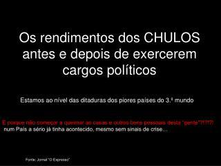 Os rendimentos dos CHULOS antes e depois de exercerem cargos políticos
