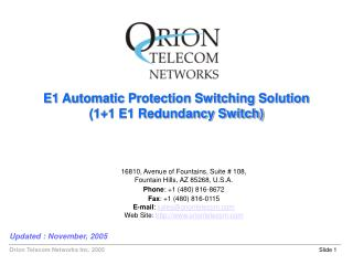 E1 Automatic Protection Switching Solution (1+1 E1 Redundancy Switch)