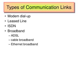 Types of Communication Links