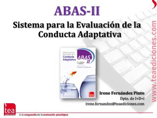 ABAS-II Sistema para la Evaluaci�n de la Conducta Adaptativa