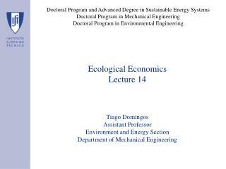 Ecological Economics Lecture 14