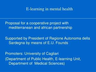 E-learning in mental health