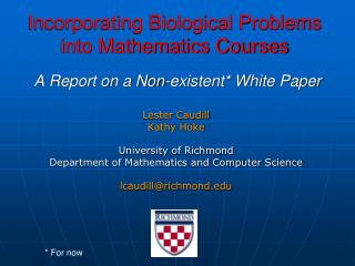 Incorporating Biological Problems into Mathematics Courses