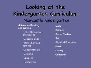 Looking at the Kindergarten Curriculum