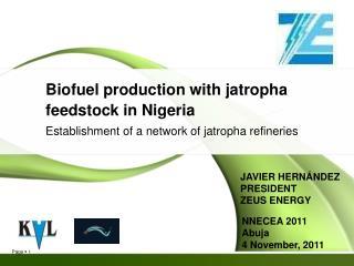 Biofuel production with jatropha feedstock in Nigeria