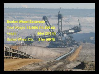 Bucket Wheel Excavator Total Weight   13,500t (14,300 st)