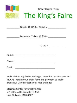 Ticket Order Form The King's Faire