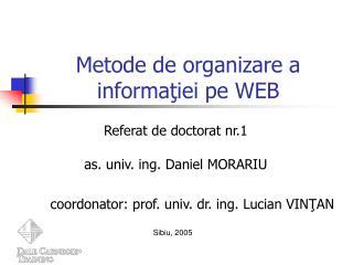 Metode de organizare a informaţiei pe WEB
