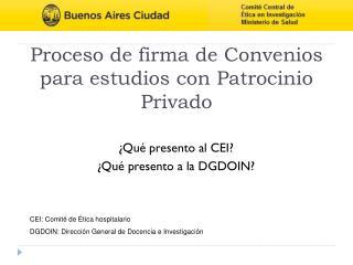 Proceso de firma de Convenios para estudios con Patrocinio Privado