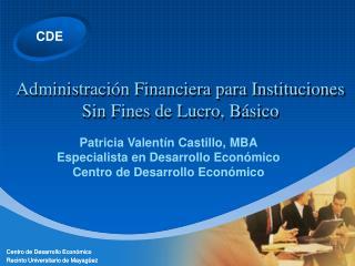 Administración Financiera para Instituciones Sin Fines de Lucro, Básico