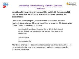Problemas  con  Decimales  y  Múltiples  Variables Problema 3