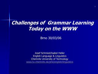 Challenges of  Grammar Learning  Today on the WWW