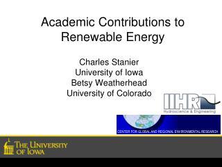 Academic Contributions to Renewable Energy