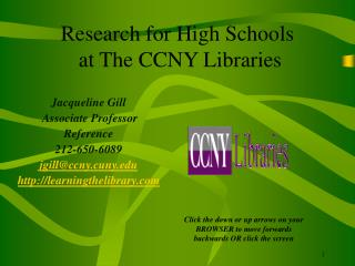 Research for High Schools  at The CCNY Libraries