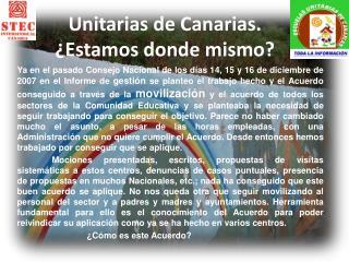 Unitarias de Canarias. ¿Estamos donde mismo?