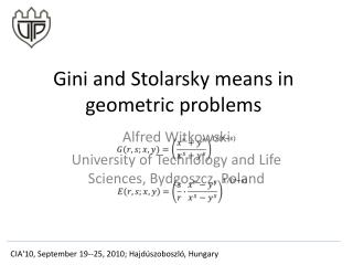 Gini and Stolarsky means in geometric problems