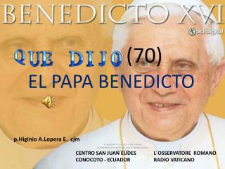 (70) EL PAPA BENEDICTO