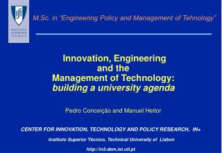 """M.Sc. in """"Engineering Policy and Management of Tehnology"""""""