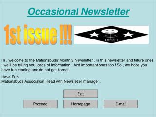 Occasional Newsletter