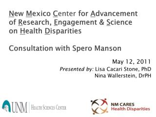 May 12, 2011 Presented by:  Lisa Cacari Stone, PhD   Nina Wallerstein, DrPH