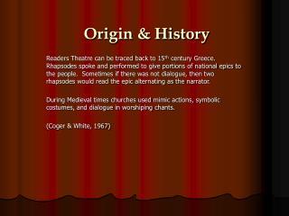 Origin  History