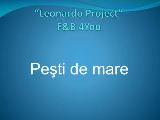 """Leonardo Project"" F&B  4You"