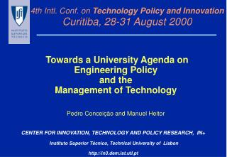 4th Intl. Conf. on  Technology Policy and Innovation Curitiba, 28-31 August 2000