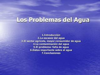 Los Problemas del Agua
