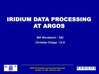 IRIDIUM DATA PROCESSING AT ARGOS