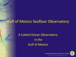 Gulf of Mexico Seafloor Observatory