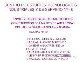 CENTRO DE ESTUDIOS TECNOLOGICOS INDUSTRIALES Y DE SERVICIO Nº 48 ENVIO Y RECEPCION DE BASTIDORES