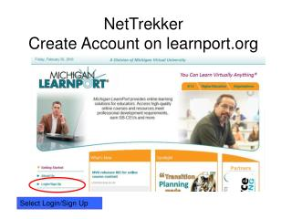 NetTrekker Create Account on learnport