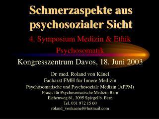 Schmerzaspekte aus psychosozialer Sicht