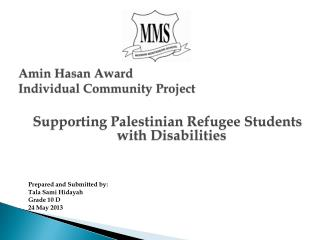 Amin Hasan  Award Individual Community Project