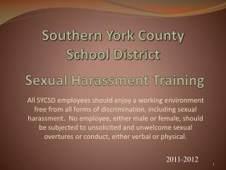 Southern York County  School District  Sexual Harassment Training